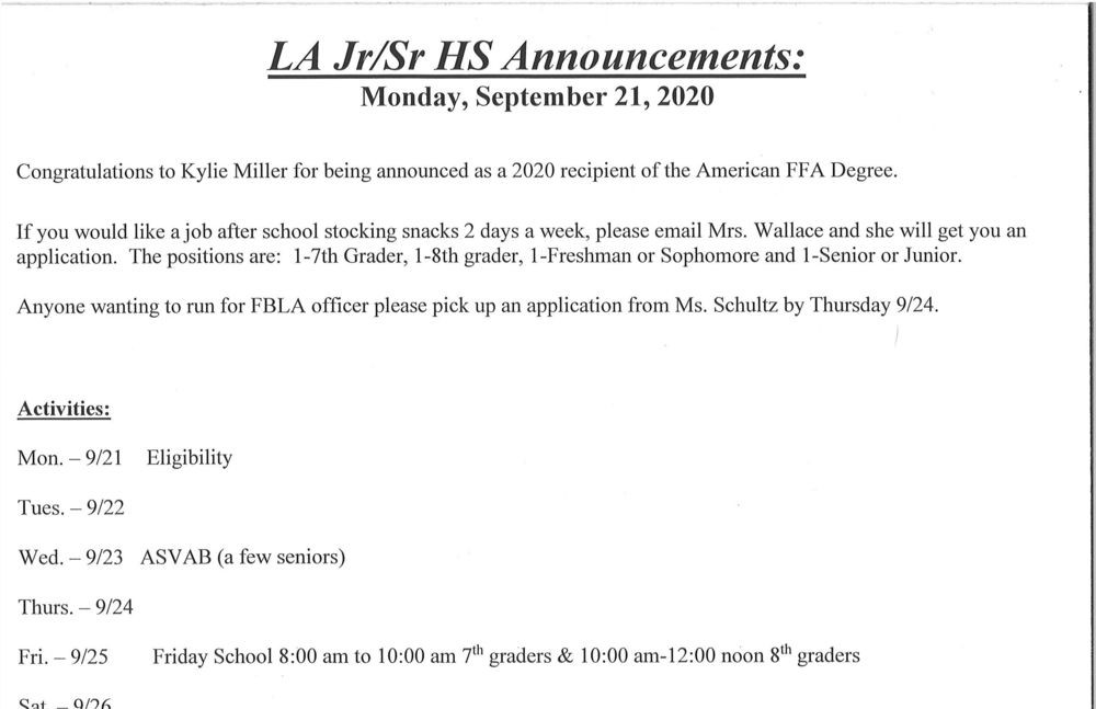 Monday, Sept. 21 Jr/Sr High Announcements
