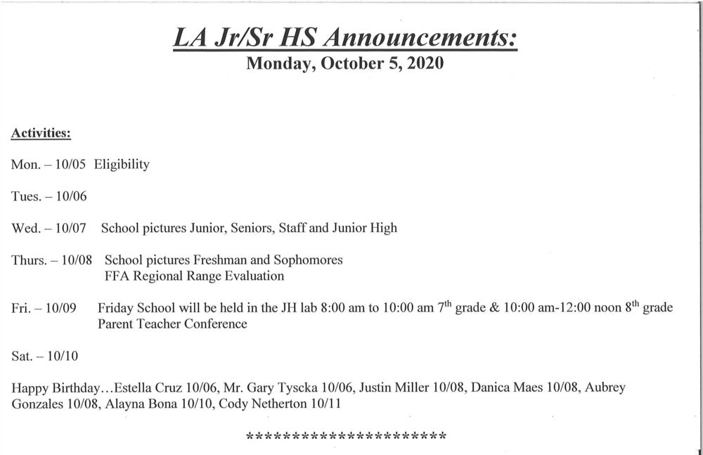 Jr/Sr High  Announcements