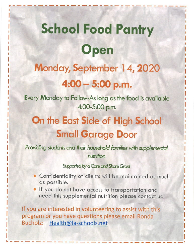 School Food Pantry Open!