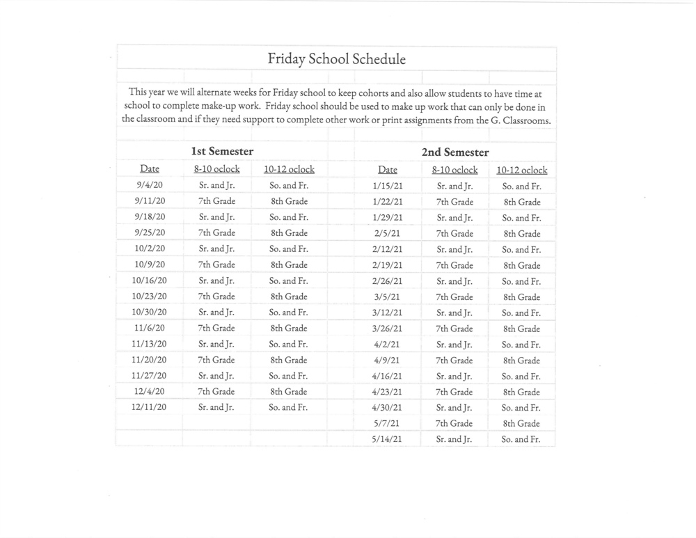 Jr/Sr High Friday School Schedule