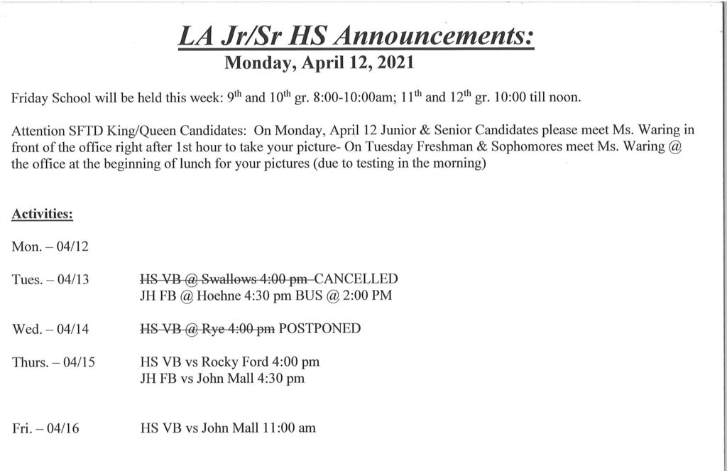 jr/sr announcements 4/12